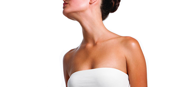 A woman's well cared for neck and décolleté