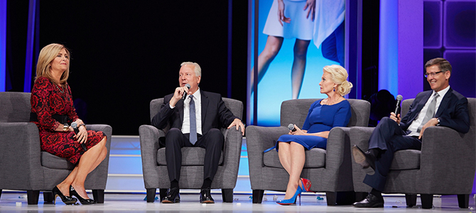 Ruth Tood, Blake Roney, Sandie Tillotson and Steve Lund speking at the Nu Skin 2016 Americas Convention.